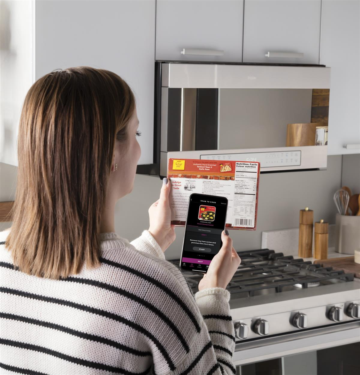 Simply scan your food's barcode and your microwave will prepare it exactly how the manufacturer intended. Hundreds of foods currently work with this innovative technology, with more being added to the list all the time. Nom!