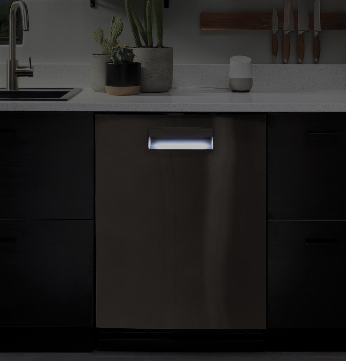 Here's a little kitchen convenience we know you're gonna love: a built-in nightlight in the dishwasher door that creates the perfect setting for late- night snacking