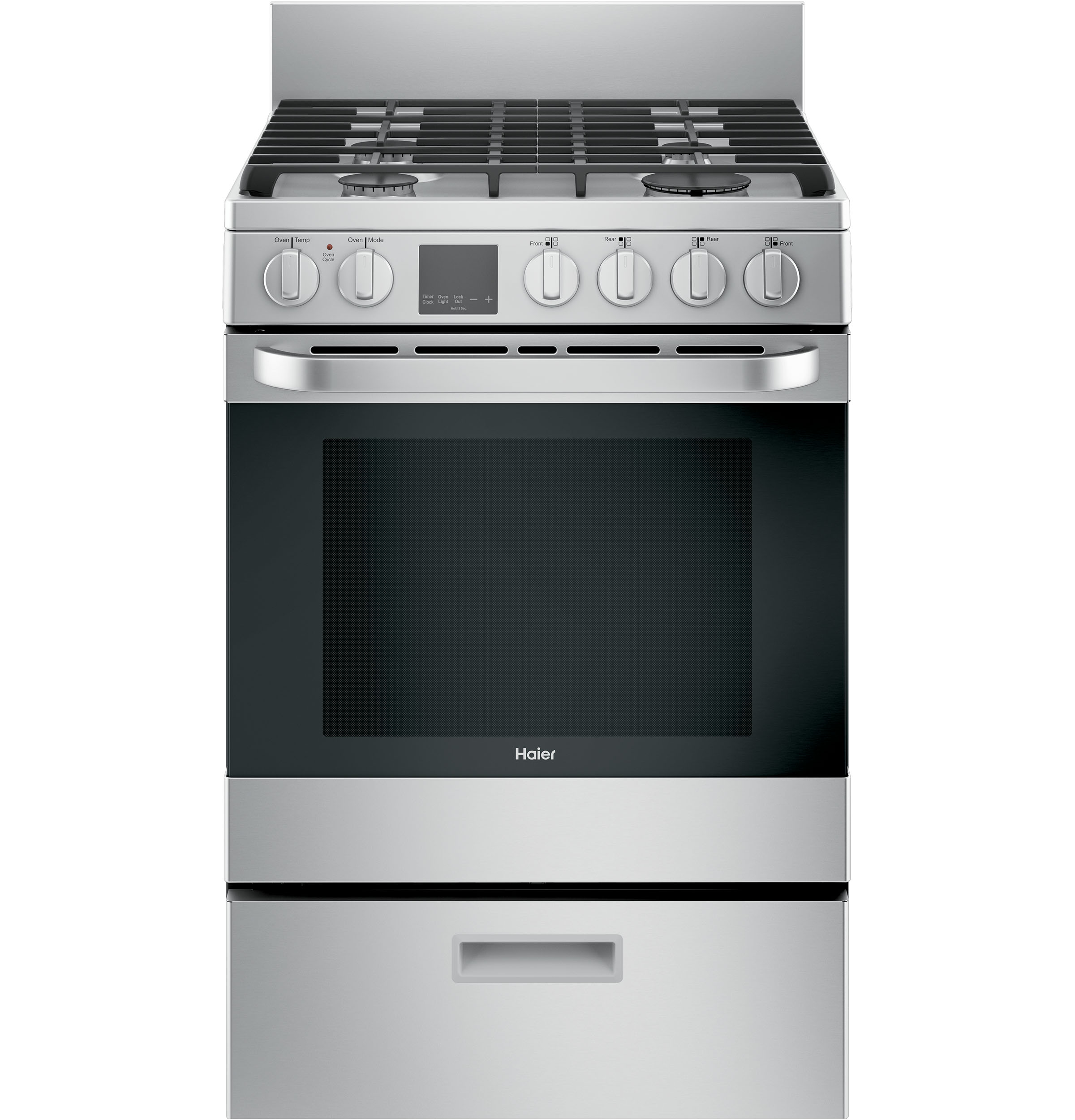 Qgas740rmss 24 2 9 Cu Ft Gas Free Standing Range With Convection And Modular Backguard Haier Appliances