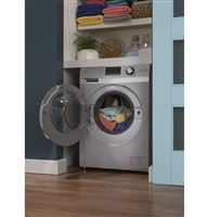 Silver Unitized Spacemaker Washer & Dryers HLC1700AXS Installed